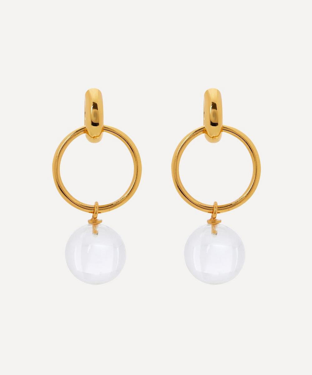 Shyla - Gold-Plated Layla Clear Glass Ball Drop Earrings