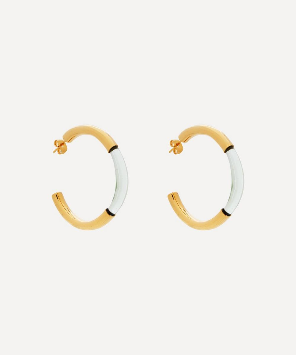 Shyla - Gold-Plated Chunky Glass Hoop Earrings