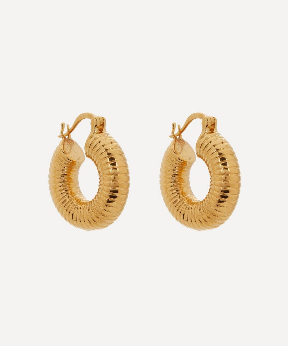 Shyla - Gold-Plated Monica Ribbed Hoop Earrings