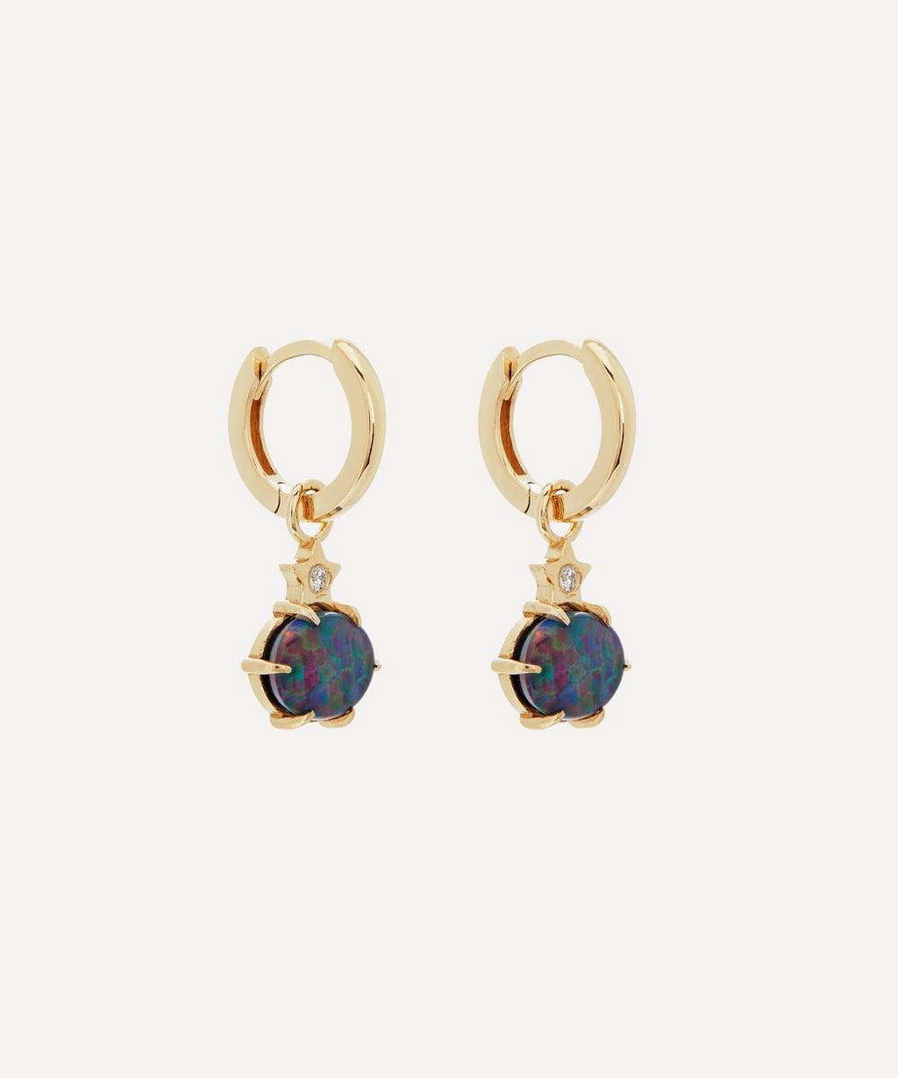 Andrea Fohrman - Gold Mini Cosmo Australian Opal and Diamond Hoop Earrings