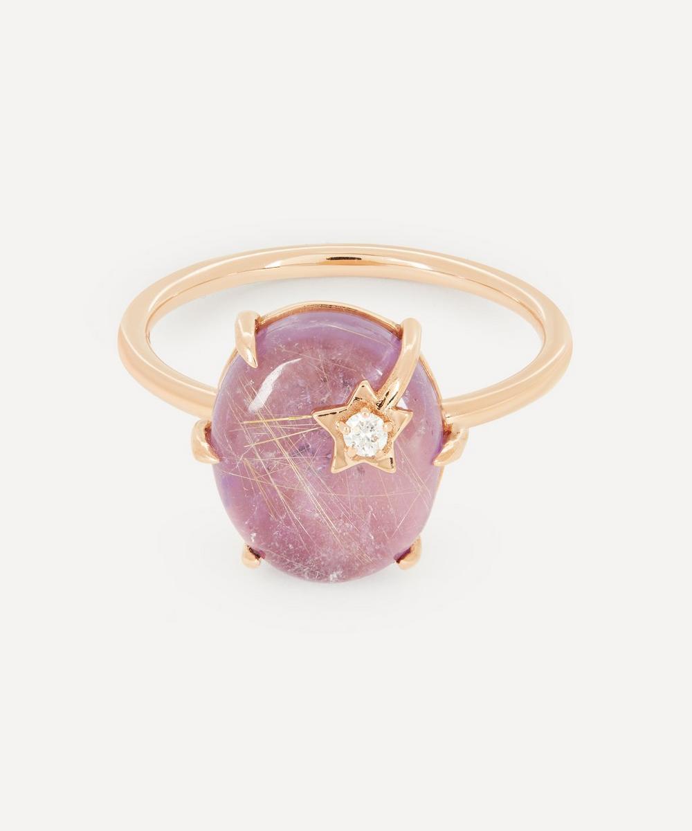 Andrea Fohrman - Gold Mini Galaxy Rutilated Quartz and Diamond Star Ring
