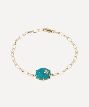 Gold Mini Galaxy Chrysocolla and Diamond Star Chain Bracelet