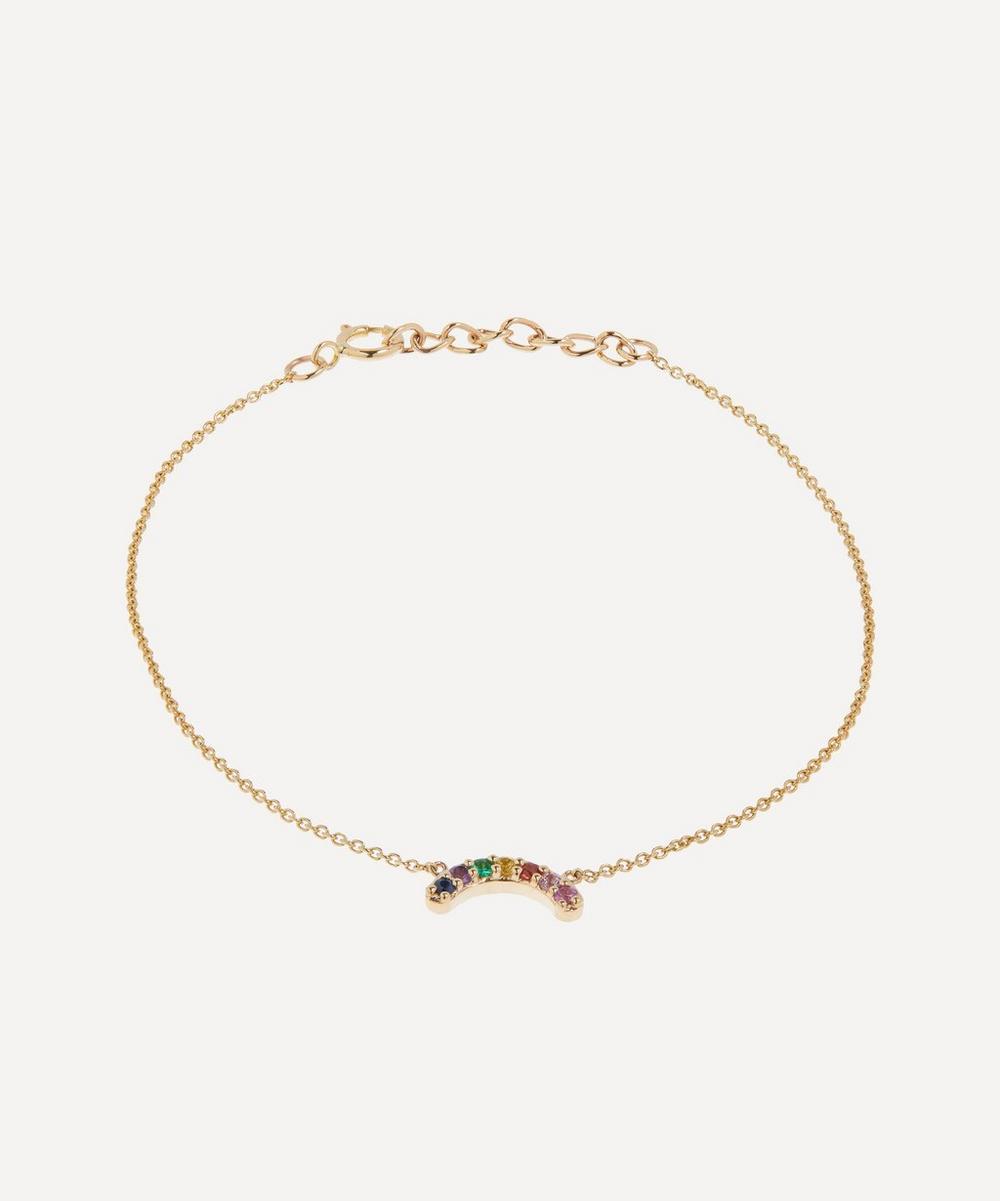 Andrea Fohrman - Gold Mini Single Row Multi-Stone Rainbow Bracelet