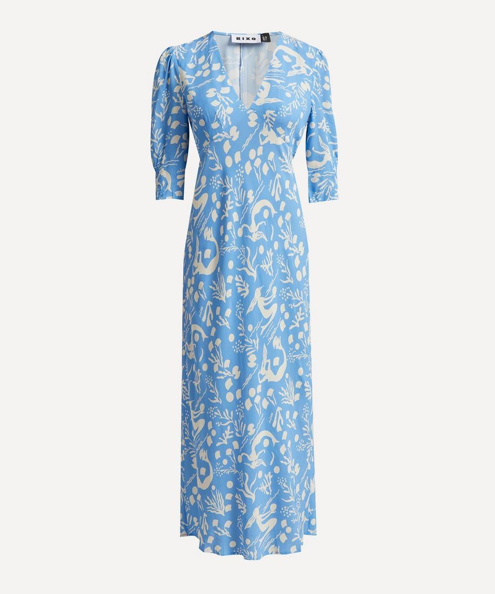RIXO - Zadie Sea Life Silk Midi-Dress