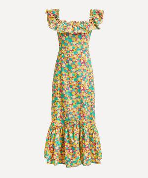 June Square-Neck Ruffle Dress