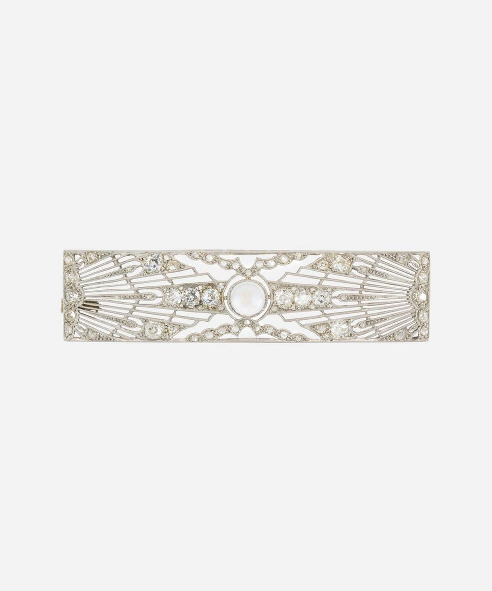 Kojis - White Gold Art Deco Moonstone and Diamond Plaque Brooch