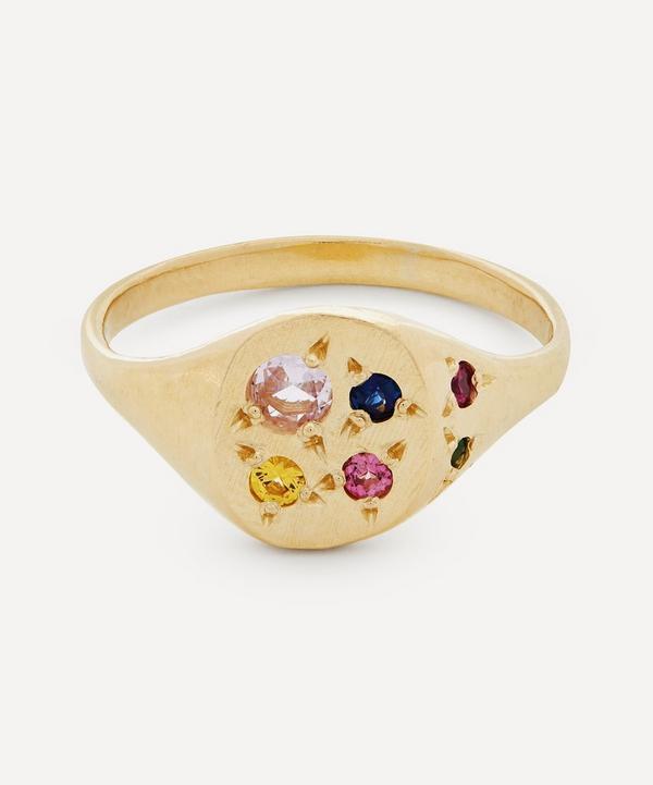 Seb Brown - Gold Neapolitan Multi-Stone Signet Ring