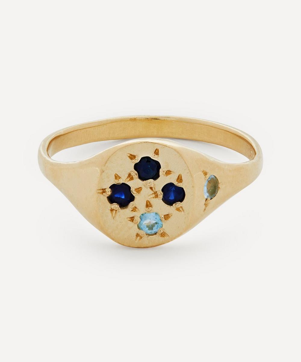 Seb Brown - Gold Neapolitan Blue Sapphire and Aquamarine Signet Ring