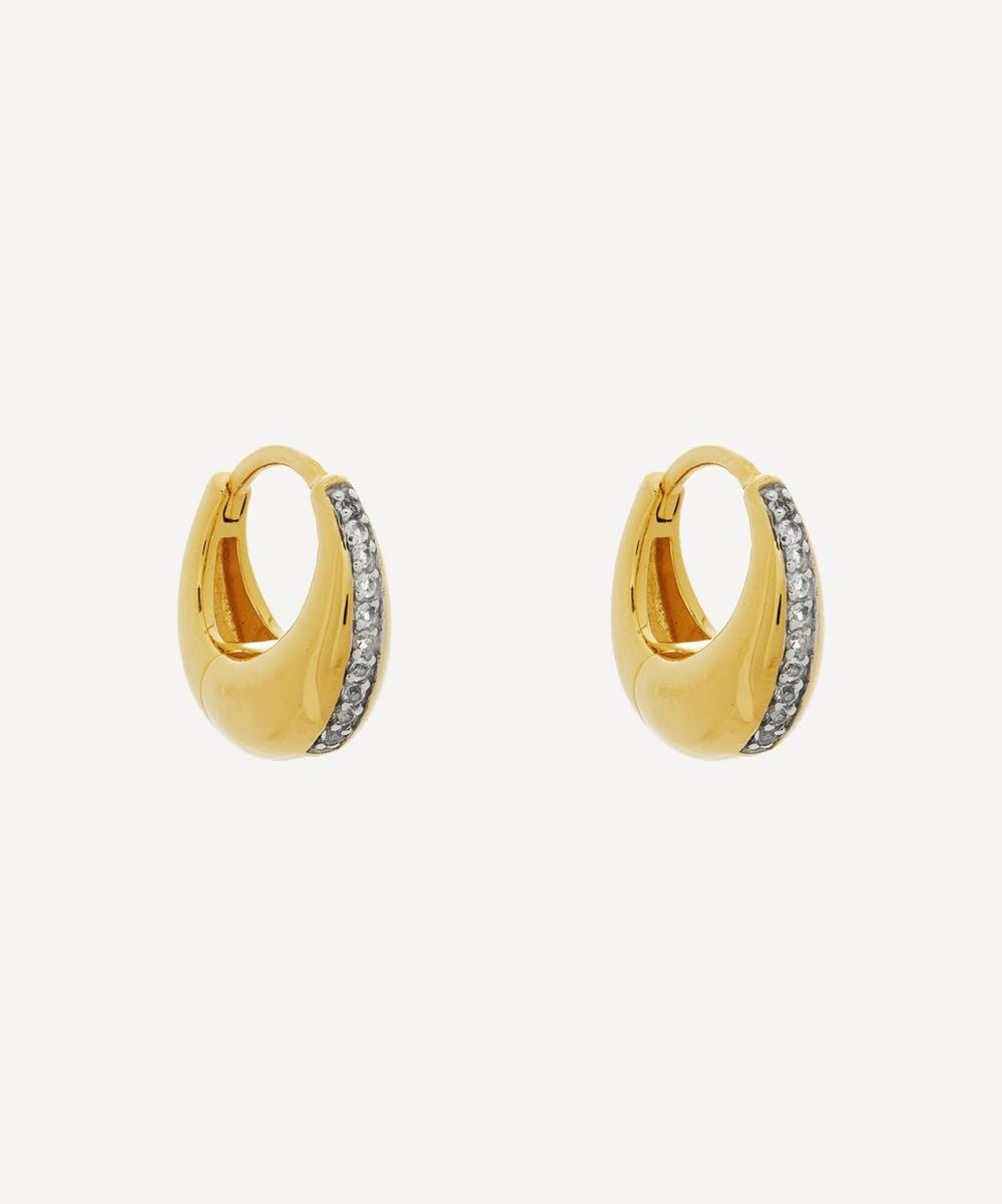 Otiumberg - Gold Plated Vermeil Silver White Topaz Mini Graduated Hoop Earrings