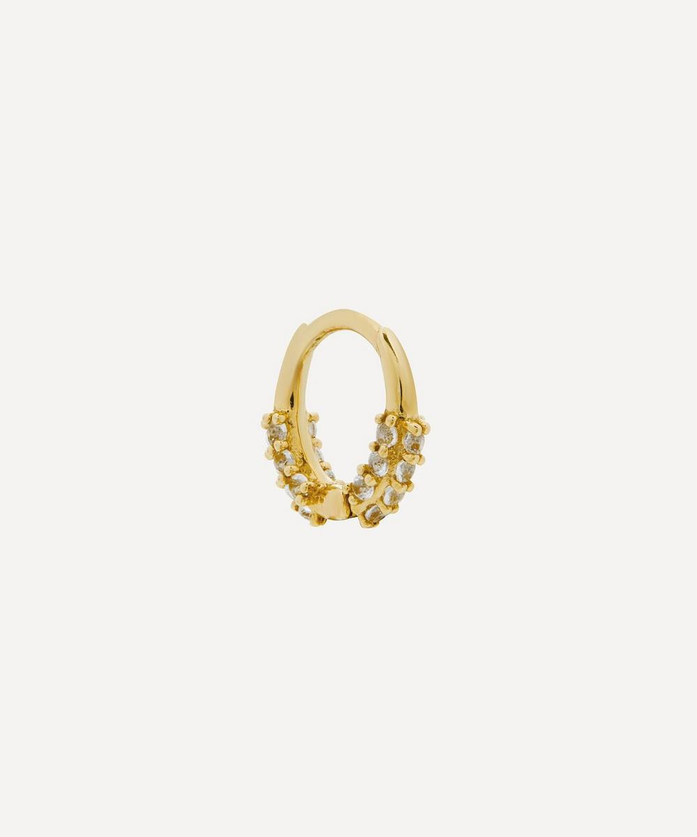 Otiumberg - Gold White Topaz Single Oval Huggie Hoop Earring