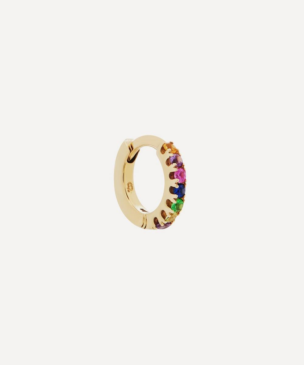 Otiumberg - Gold Rainbow Multi-Stone Single Huggie Hoop Earring