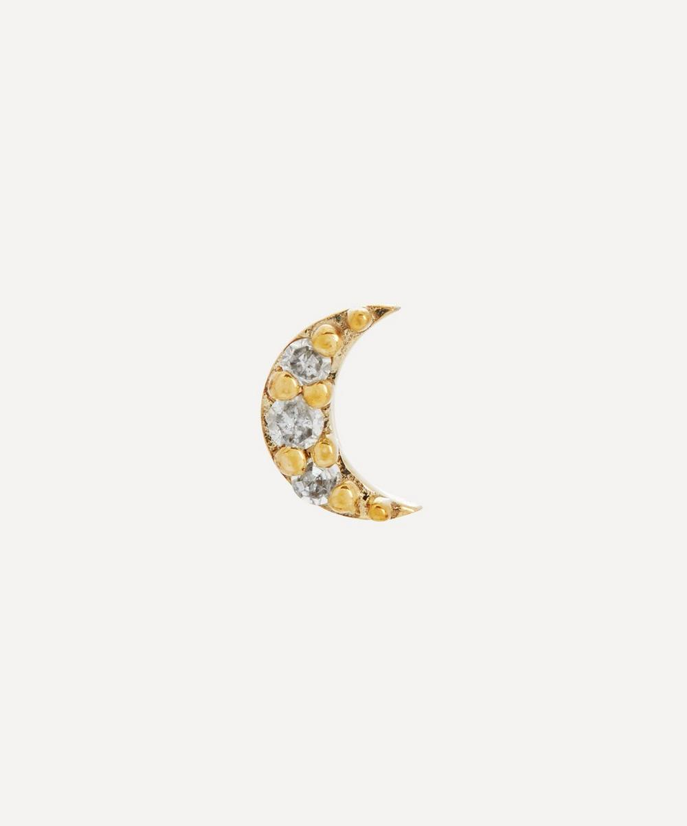 Otiumberg - Gold Diamond Moon Single Stud Earring