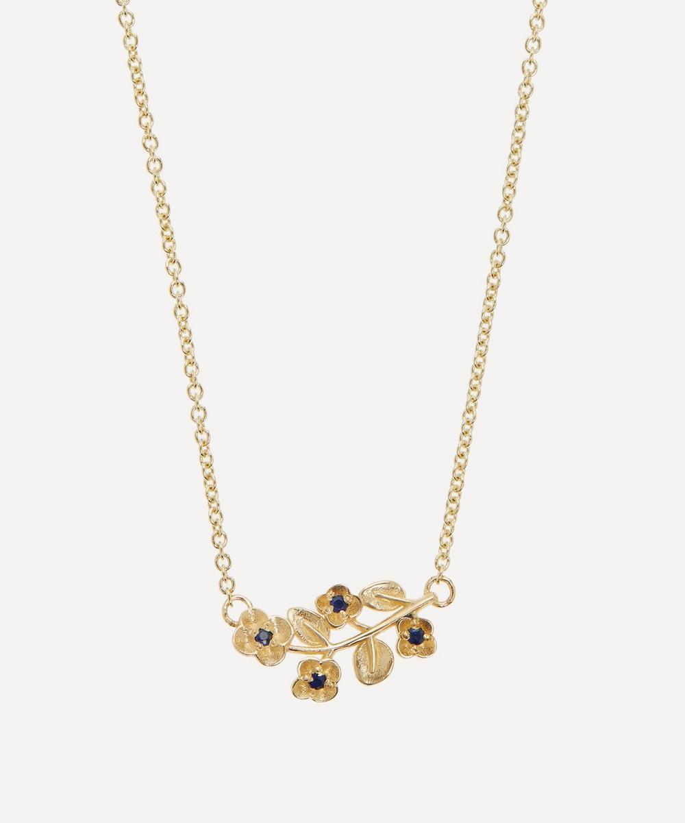 Liberty - 9ct Gold Blossom Blue Sapphire Pendant Necklace