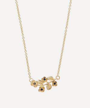 9ct Gold Blossom Blue Sapphire Pendant Necklace