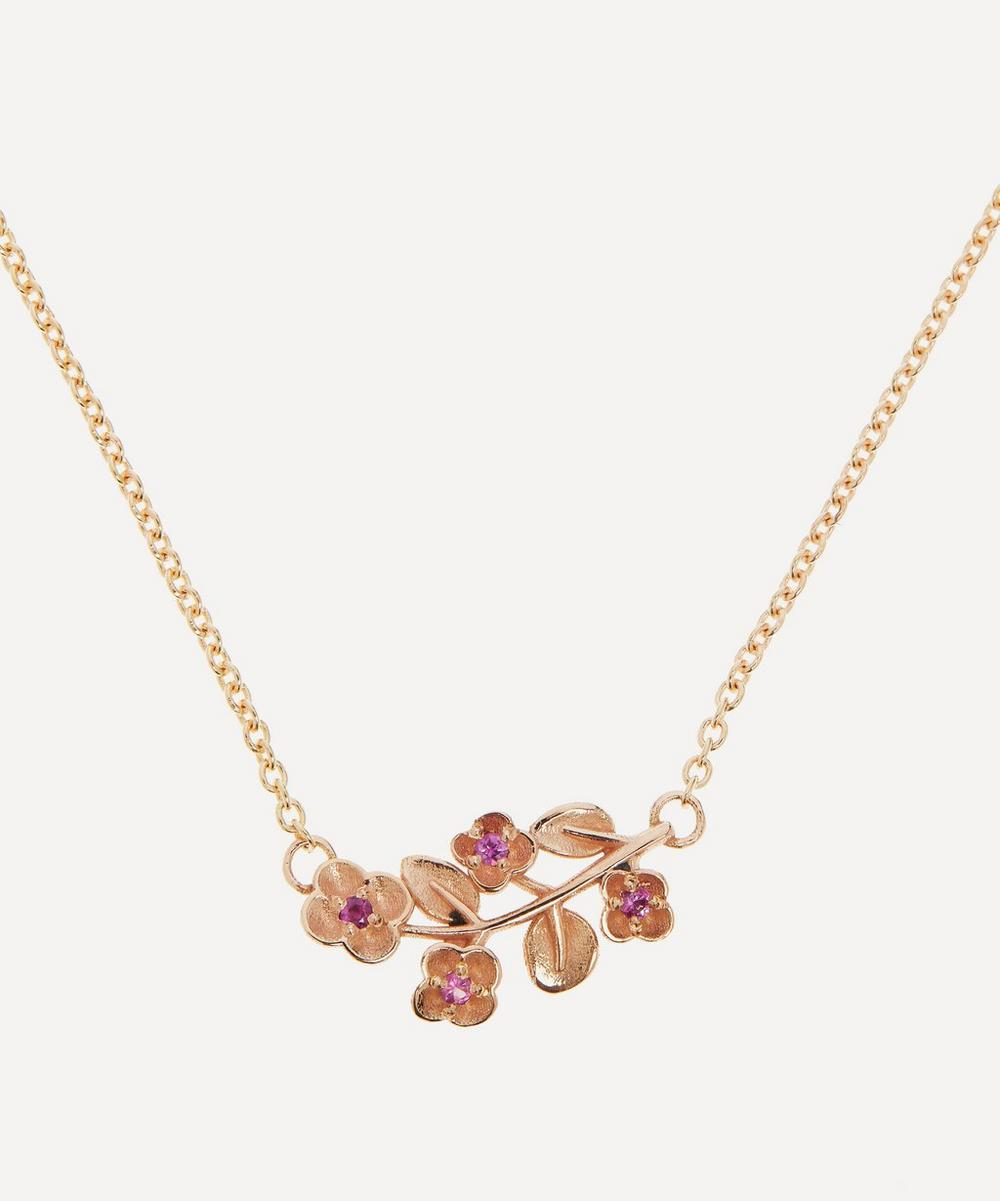 Liberty - 9ct Rose Gold Blossom Pink Sapphire Pendant Necklace