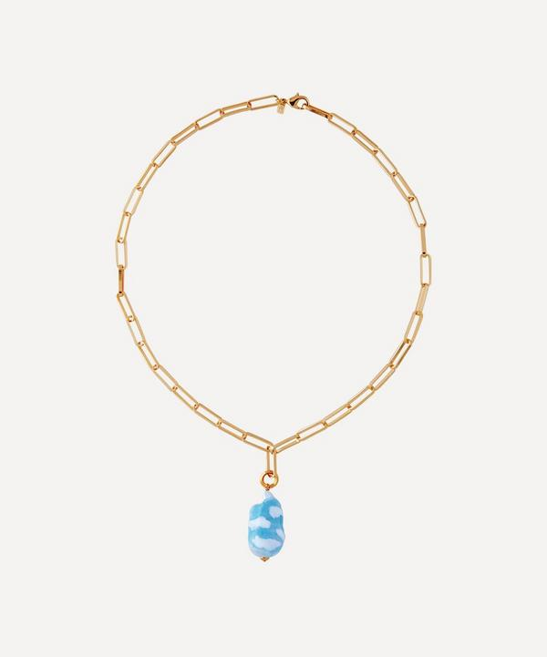 Martha Calvo - Gold-Plated Sky's The Limit Painted Pearl Pendant Necklace