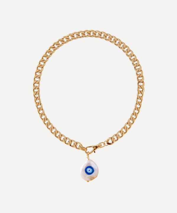 Martha Calvo - Gold-Plated Evil Eye Protection Painted Pearl Pendant Necklace