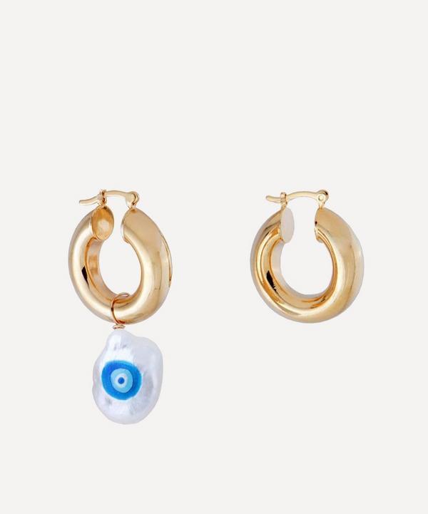 Martha Calvo - Gold-Plated Evil Eye Protection Painted Pearl Hoop Earrings