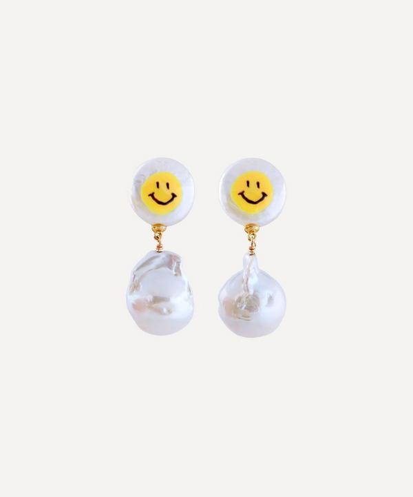 Martha Calvo - All Smiles Painted Pearl Double Drop Earrings