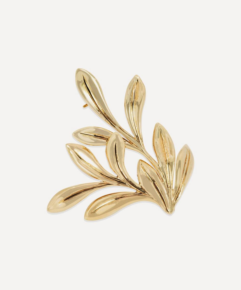 Kojis - Gold 1970s Arts and Crafts Mistletoe Brooch