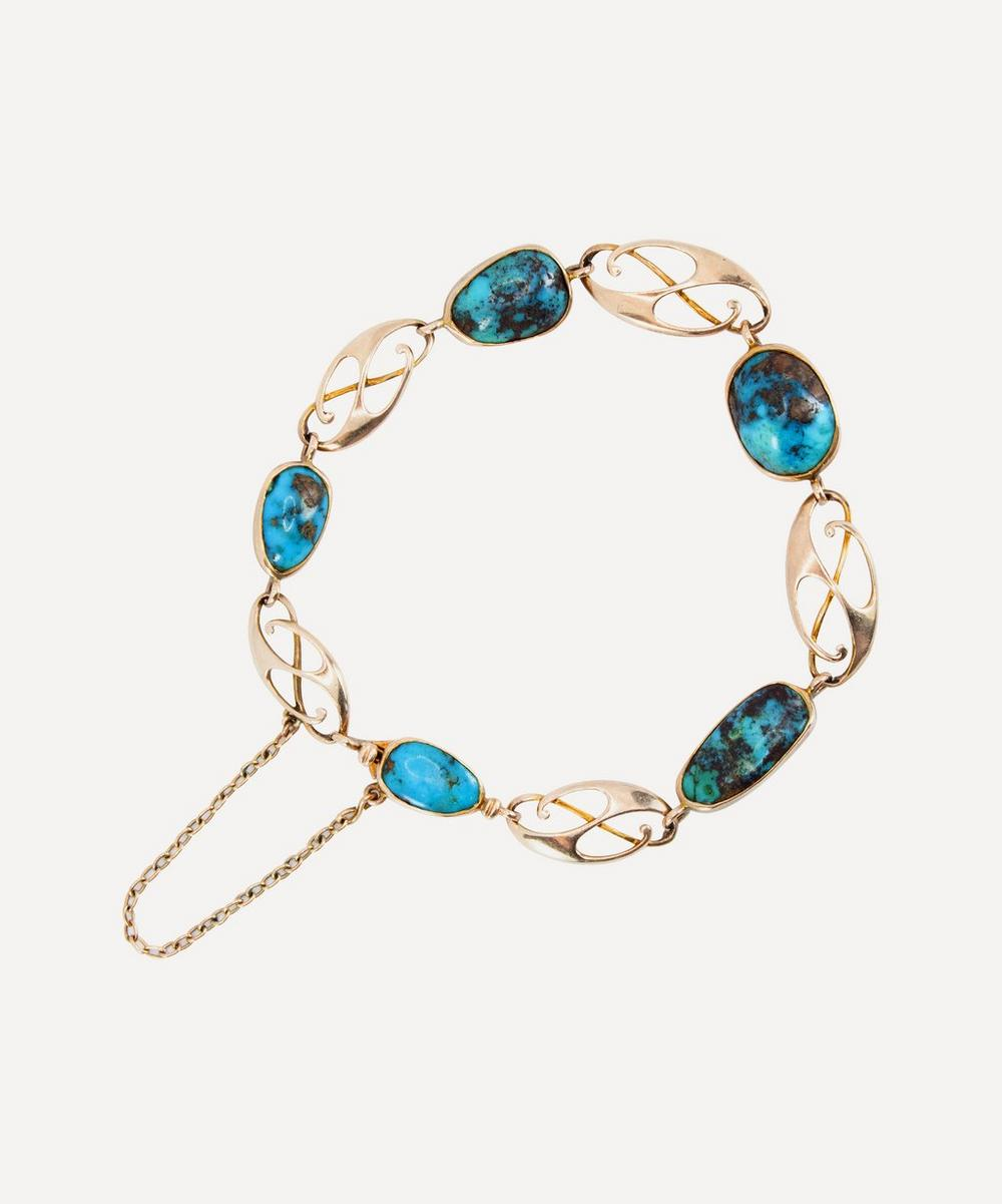Kojis - Gold 1900s Arts and Crafts Turquoise Bracelet