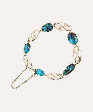 Gold 1900s Arts and Crafts Turquoise Bracelet