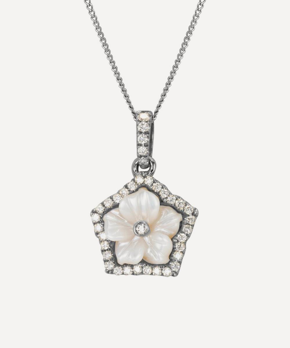 Kojis - White Gold Diamond and Mother of Pearl Flower Pendant Necklace