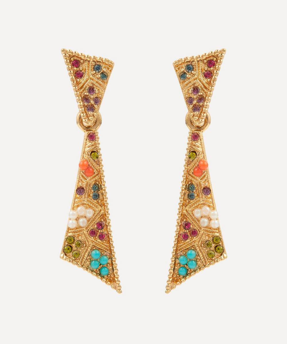 Susan Caplan Vintage - Gold-Plated 1980s D'Orlan Multi-Stone Clip-On Drop Earrings