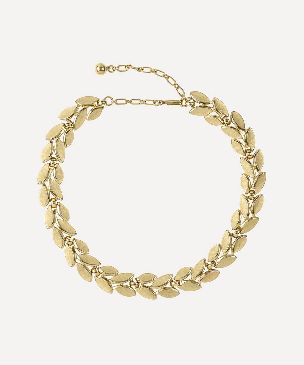 Susan Caplan Vintage - Gold-Plated 1970s Trifari Leaf Necklace