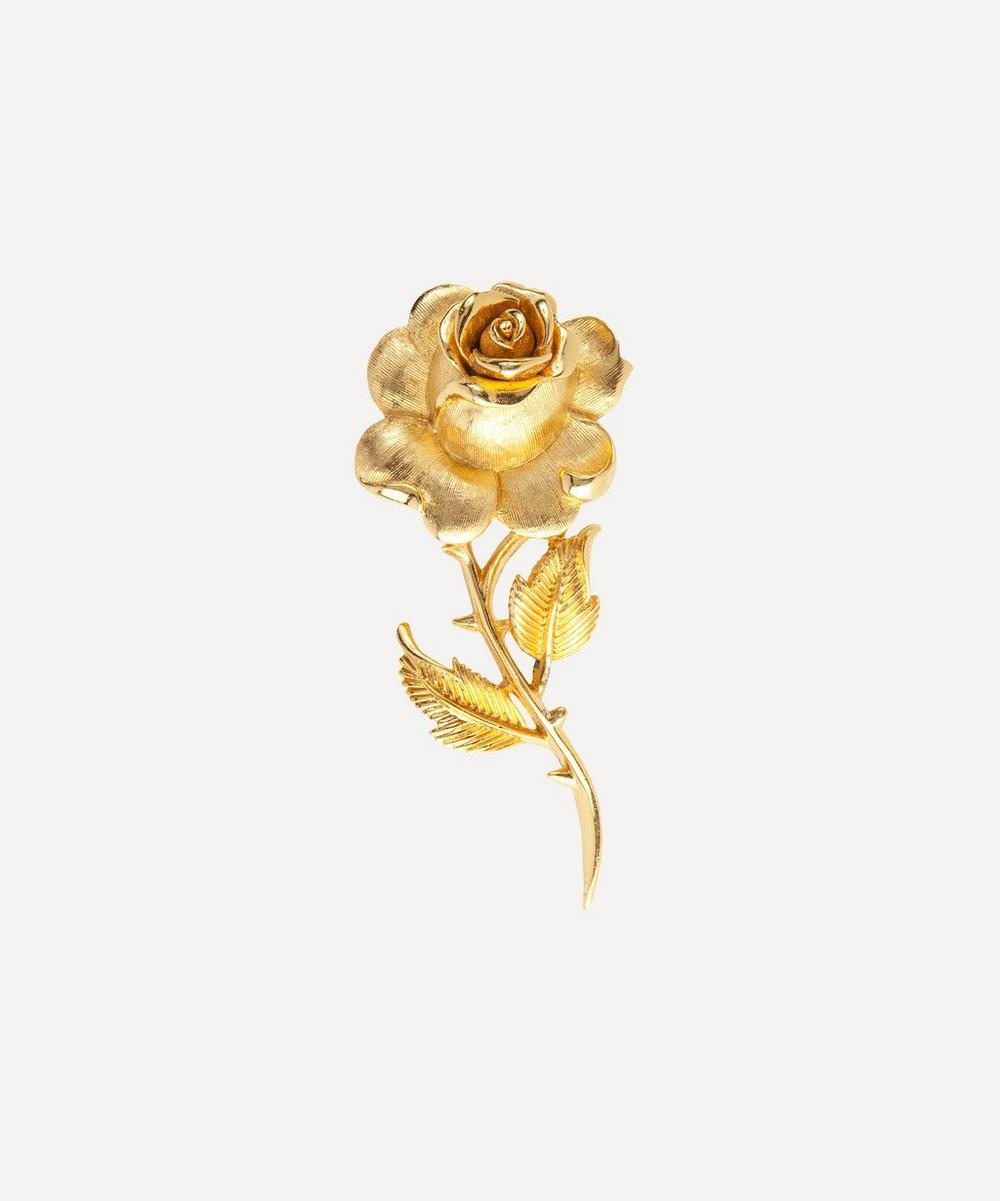 Susan Caplan Vintage - Gold-Plated 1960s Trifari Rose Brooch