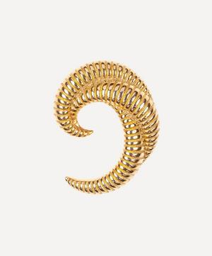 Gold-Plated 1980s Monet Ribbed Crescent Brooch