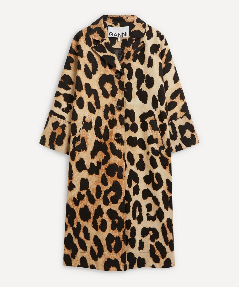 Ganni - Leopard Linen Canvas Coat