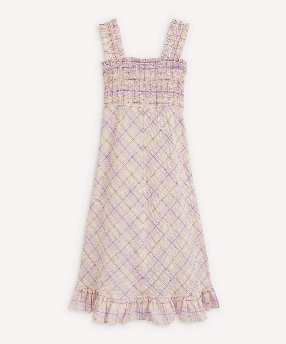 Ganni - Seersucker Check Smocked Dress
