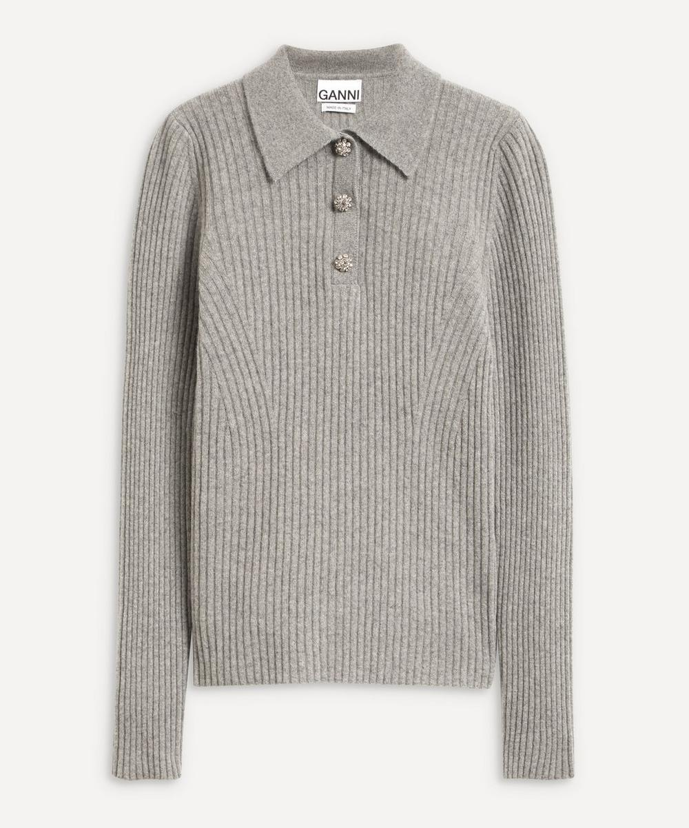 Ganni - Recycled Wool-Mix Polo-Knit