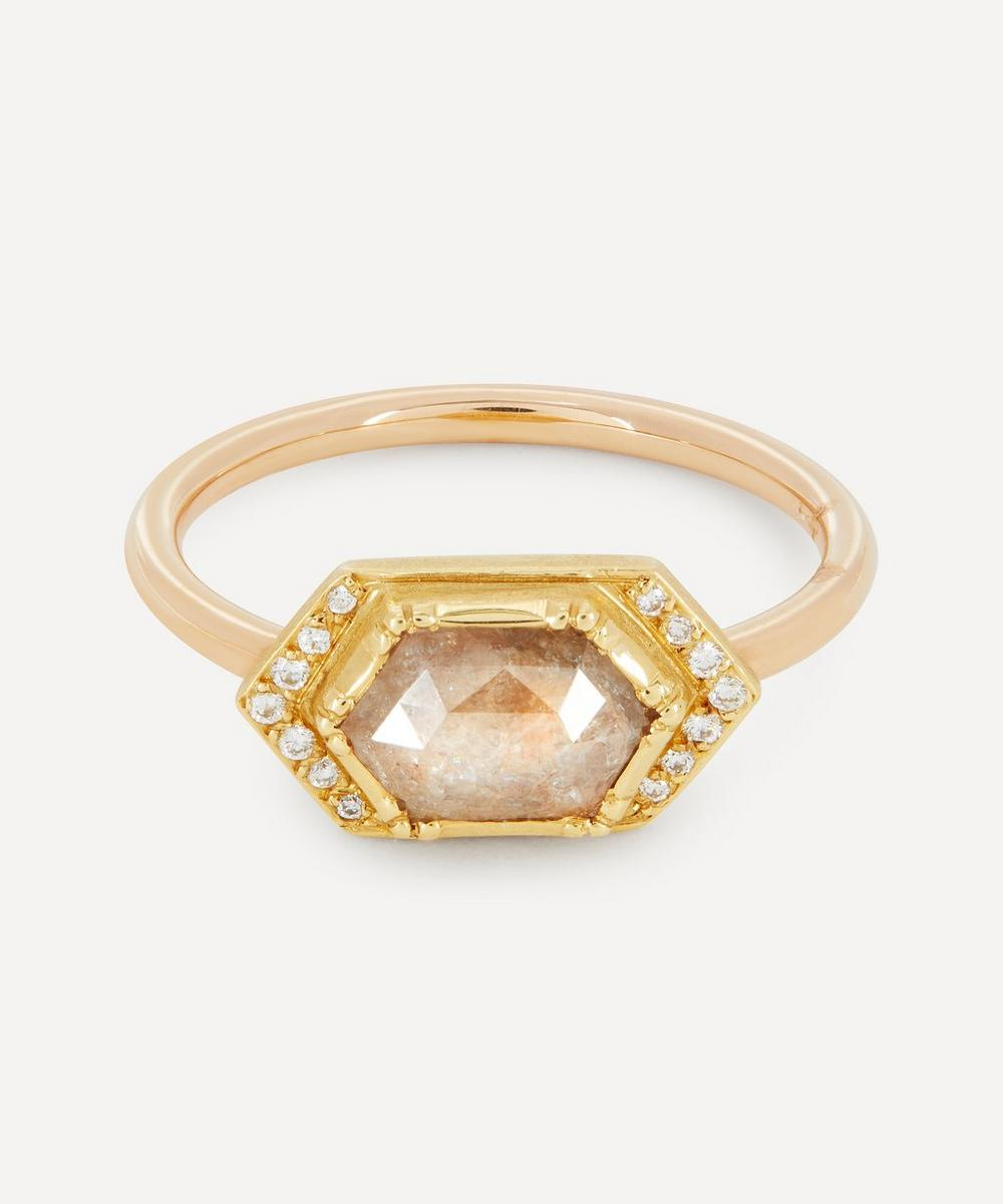 Brooke Gregson - Gold Diamond Geo Halo Ring image number 0