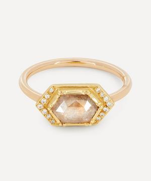 Gold Diamond Geo Halo Ring
