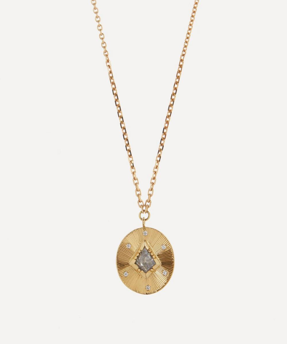 Brooke Gregson - Gold Engraved Starlight Diamond Pendant Necklace