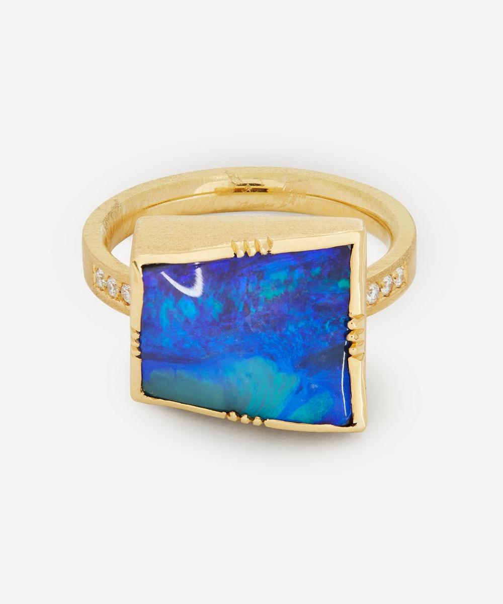 Brooke Gregson - Gold Square Boulder Opal and Diamond Ring