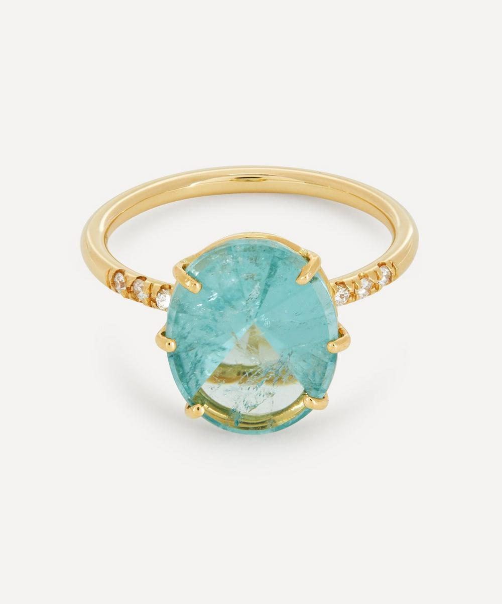 Brooke Gregson - Gold Ellipse Tourmaline and Diamond Ring