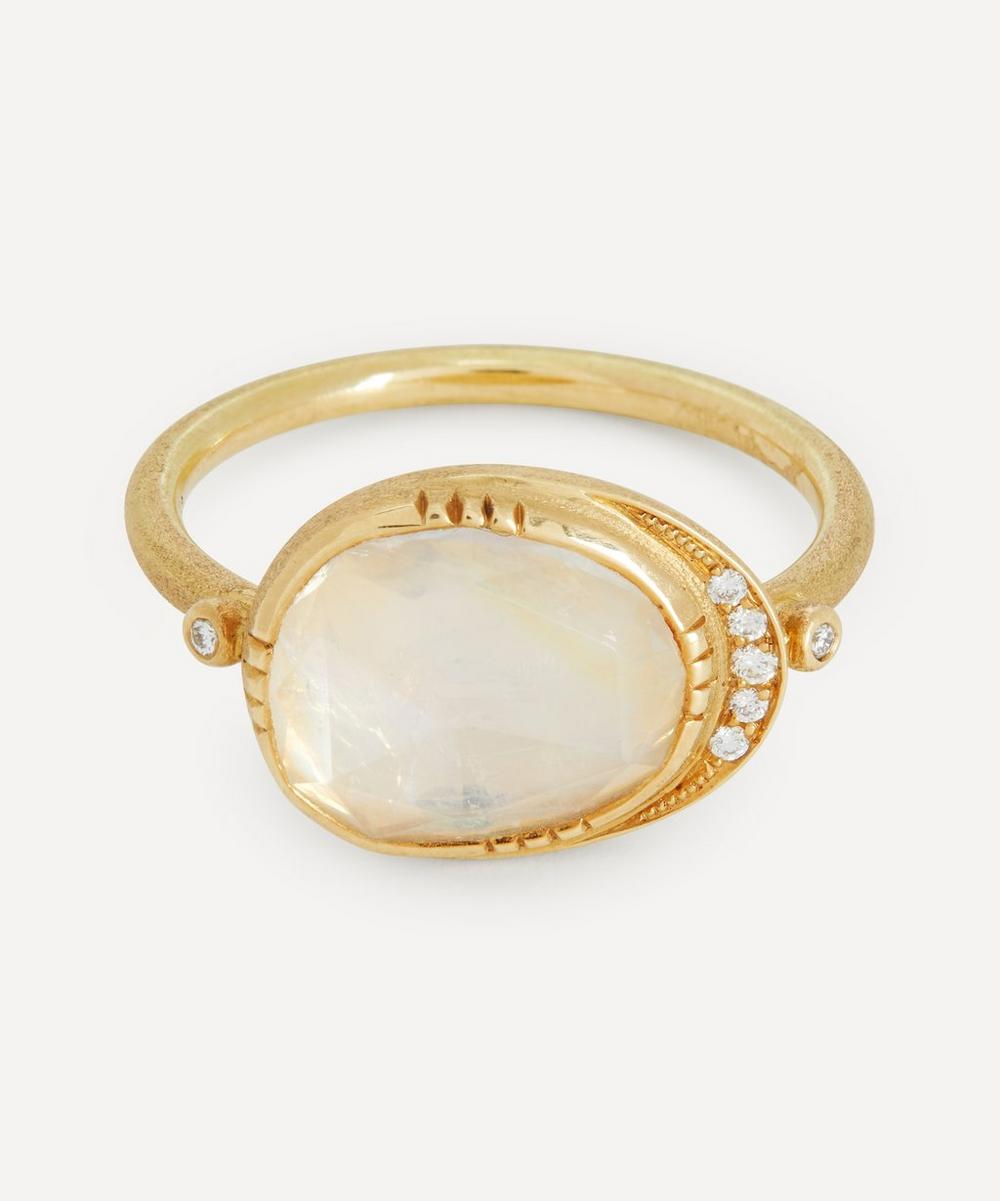 Brooke Gregson - Gold Ellipse Moonstone and Diamond Halo Ring