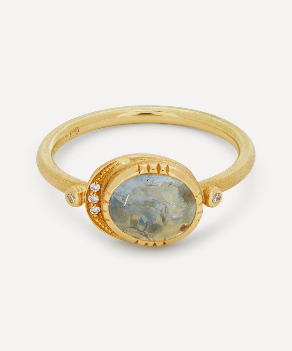 Brooke Gregson - Gold Ellipse Grey Sapphire and Diamond Halo Ring