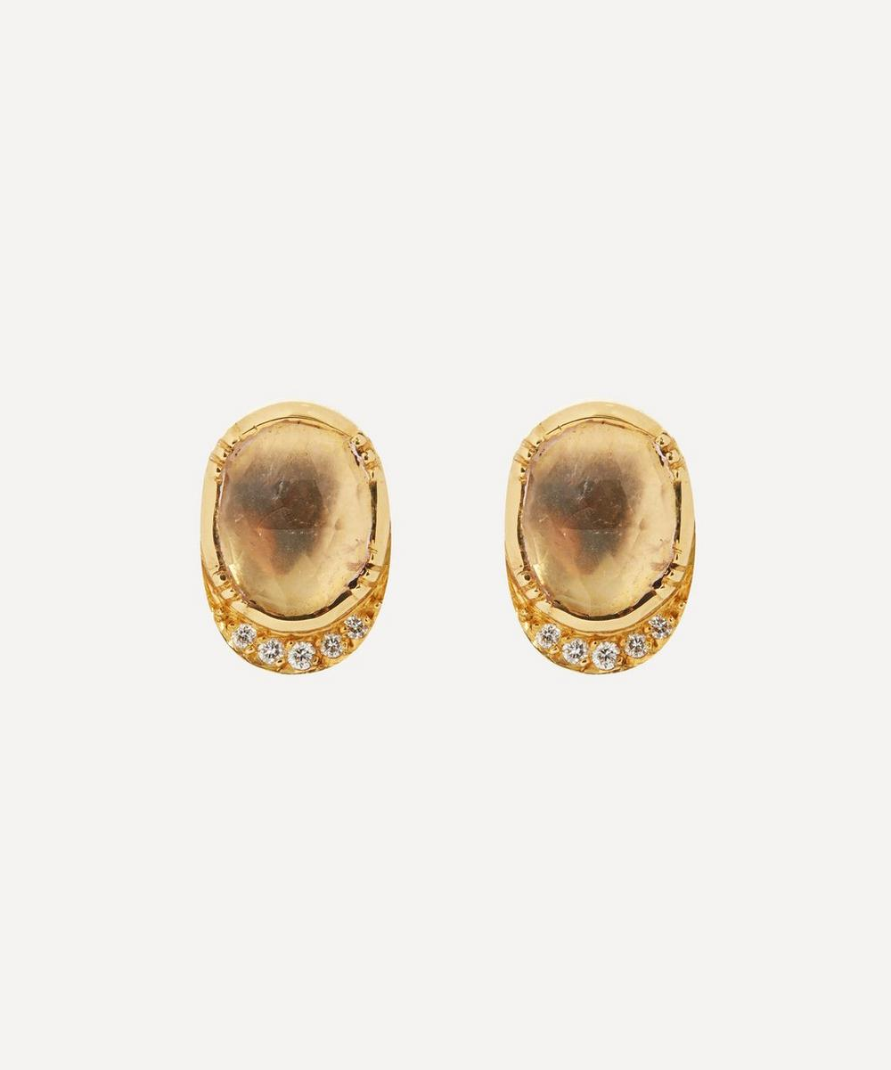Brooke Gregson - Gold Orbit Morganite and Diamond Halo Stud Earrings