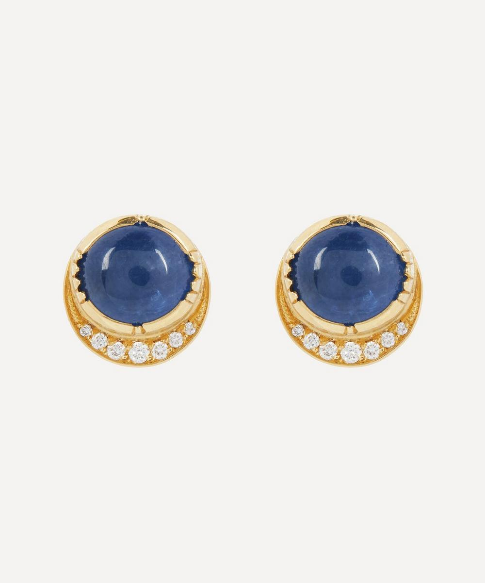 Brooke Gregson - Gold Orbit Blue Sapphire and Diamond Halo Stud Earrings