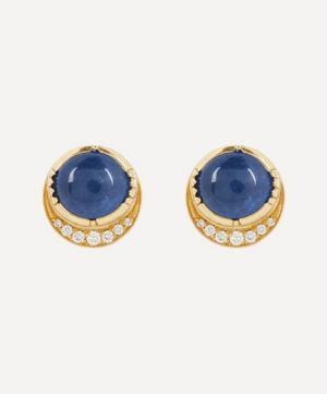Gold Orbit Blue Sapphire and Diamond Halo Stud Earrings