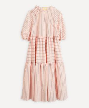 Vacation Postiano Stripe Tiered Midi-Dress