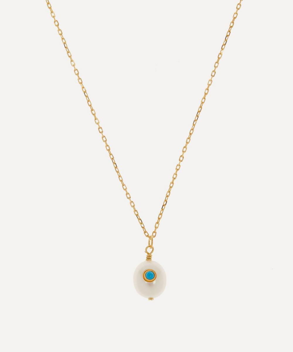 ANNI LU - Gold-Plated Pearl and Turquoise Pendant Necklace
