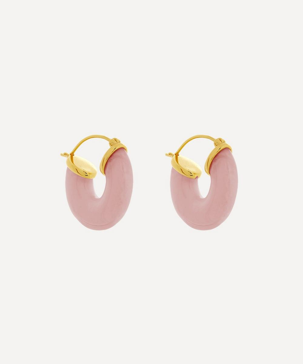ANNI LU - Gold-Plated Rose Swell Resin Hoop Earrings