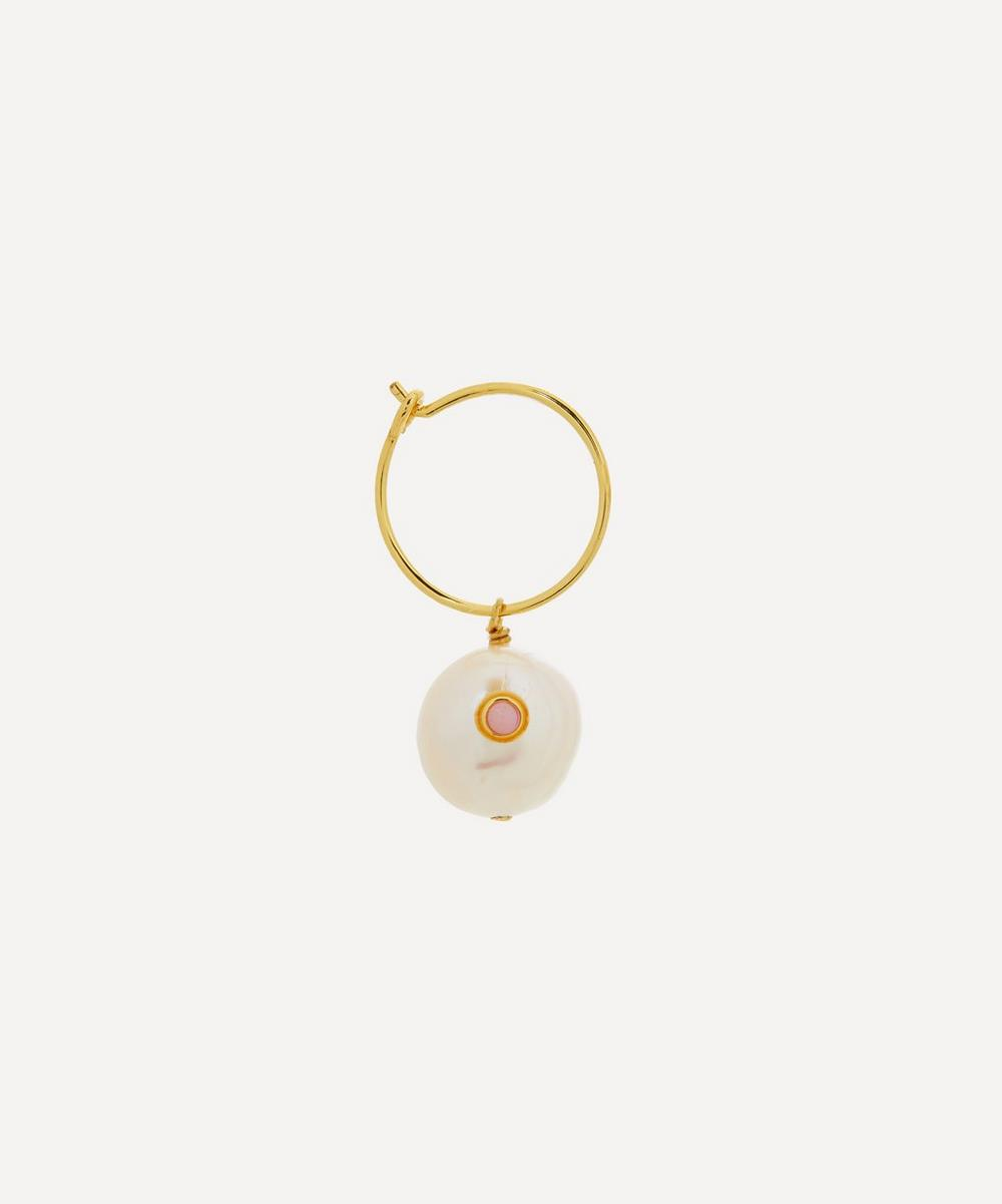 ANNI LU - Gold-Plated Pearl and Coral Single Hoop Earring