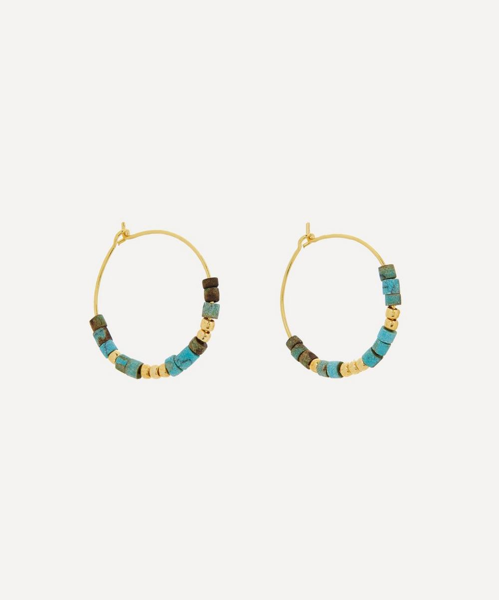 ANNI LU - Gold-Plated Sun Stalker Beaded Hoop Earrings