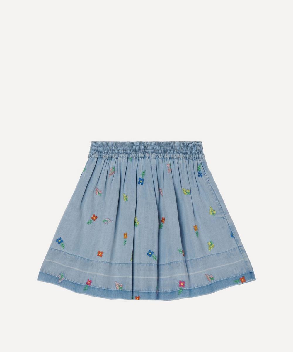 Stella McCartney Kids - Floral Embroidered Denim Skirt 2-8 Years